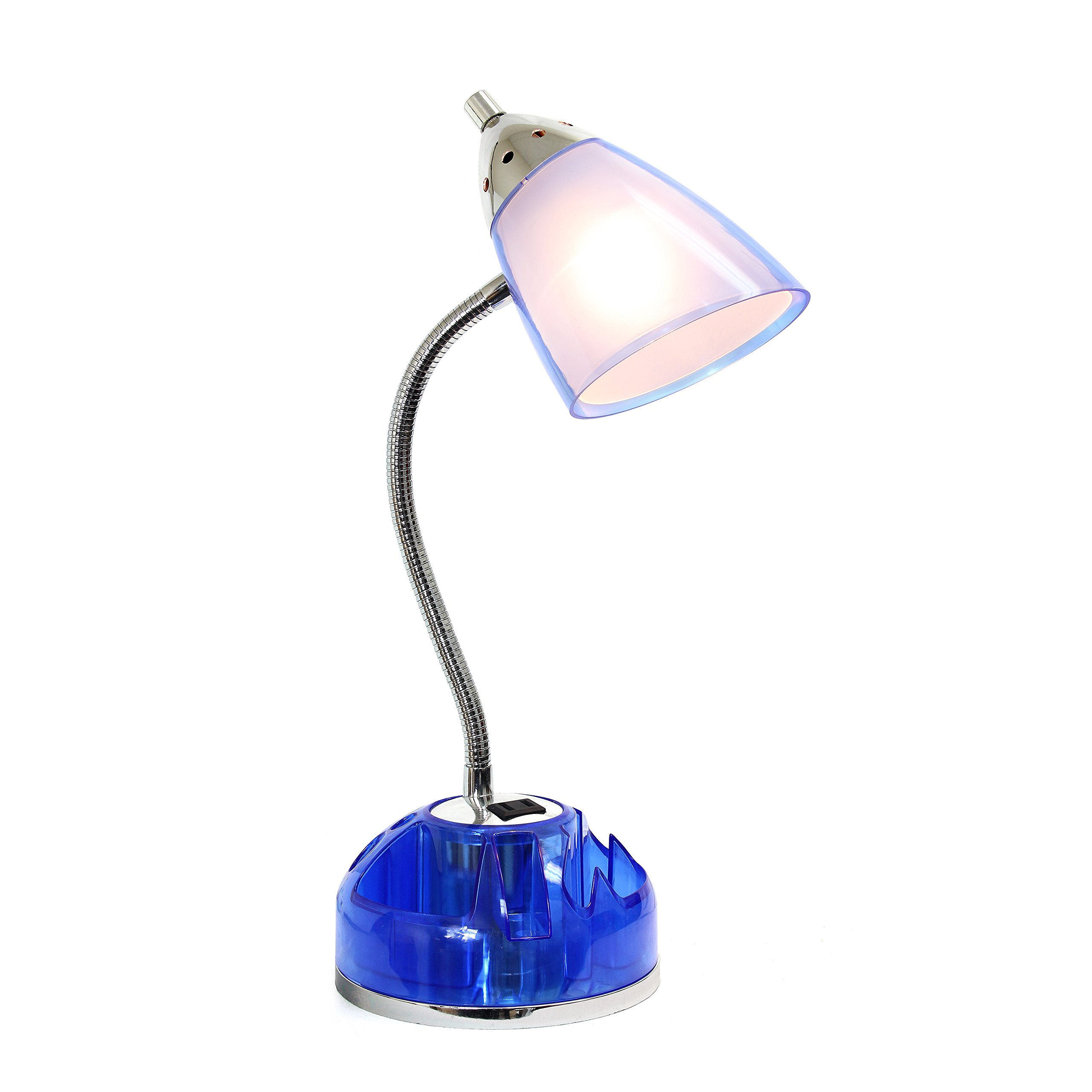 Limelights LD1015-CBL Organizer Desk Lamp with Charging Outlet Lazy Susan Base, Clear Blue by Limelights (Image #2)