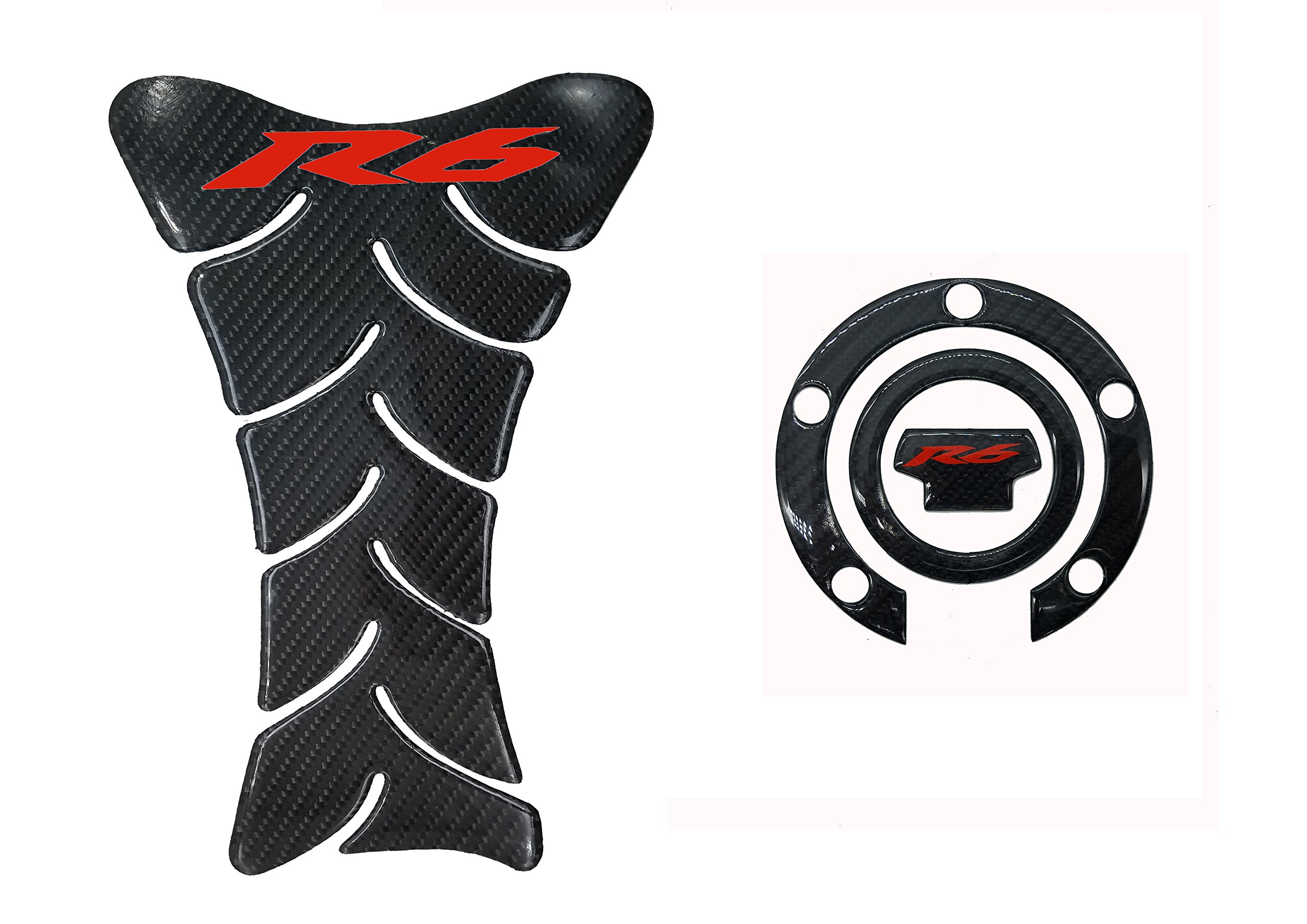 Real Carbon Fiber 3D Sticker Vinyl Decal Emblem Protection Gas Tank Pad & Cap Cover For YAMAHA YZF R6/R600 2001-2015