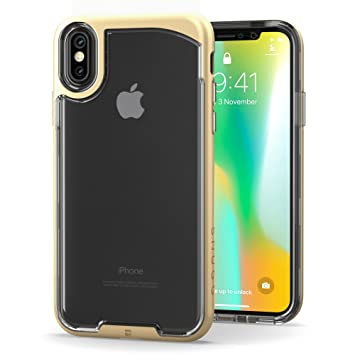 Funda iPhone X, Carcasa Snugg Anti-Impacto para Apple iPhone X Plus [Clear Back] Revestimiento de TPU, Diseño Ultrafina - Gold Vision Range
