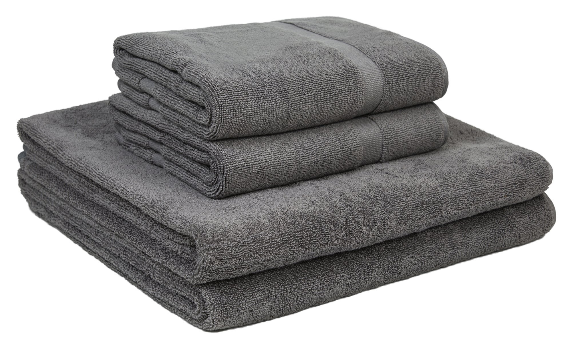 Home and Plan Quick Dry Premium 100% Turkish Cotton Bath Sheets & Bath Mats | 4-Piece Set, 2 Oversized Bath Towels (30x60), 2 Bath Mats (20x34) - Grey (S6)