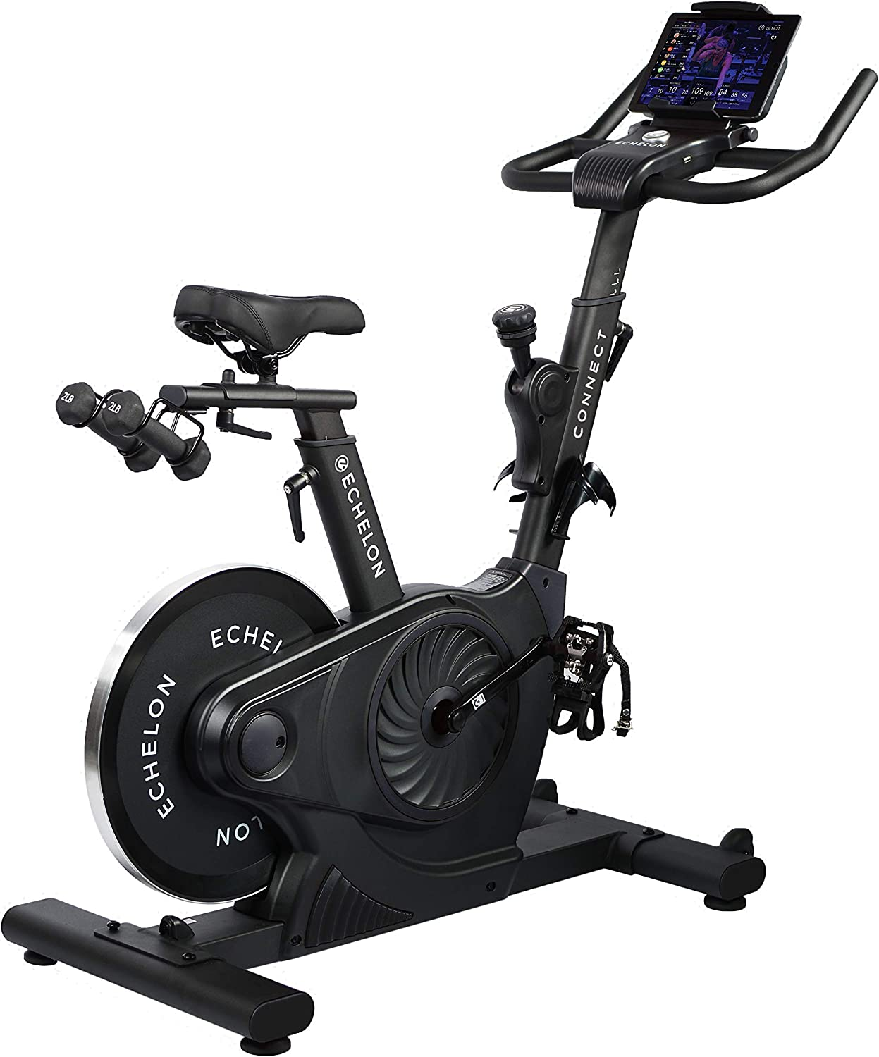 Echelon Smart Connect EX-3 Bike, Bluetooth Capability, 32 Levels of Magnetic Resistance, Competition Seat, SPD Compatible Clips and Shoe Cages,Works with The Fit App