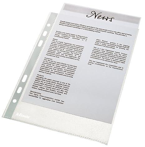 Esselte Economy - Fundas de plástico para documentos (A5, 100 unidades), transparente