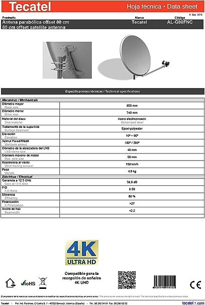 Tecatel K80C1LS - Kit parabólica 80 cm, Soporte y LNB Universal (K80C1LS)