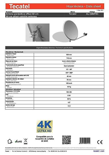 Tecatel K80C1LSCC - Kit parabólica de 80 cm (Soporte d8256ca0631