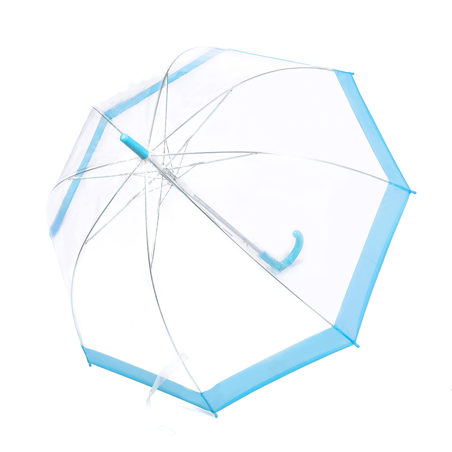 Rainbrace Clear Transparent Bubble Umbrella Auto Open, Fashion Dome Shape with Color Trim (Black)