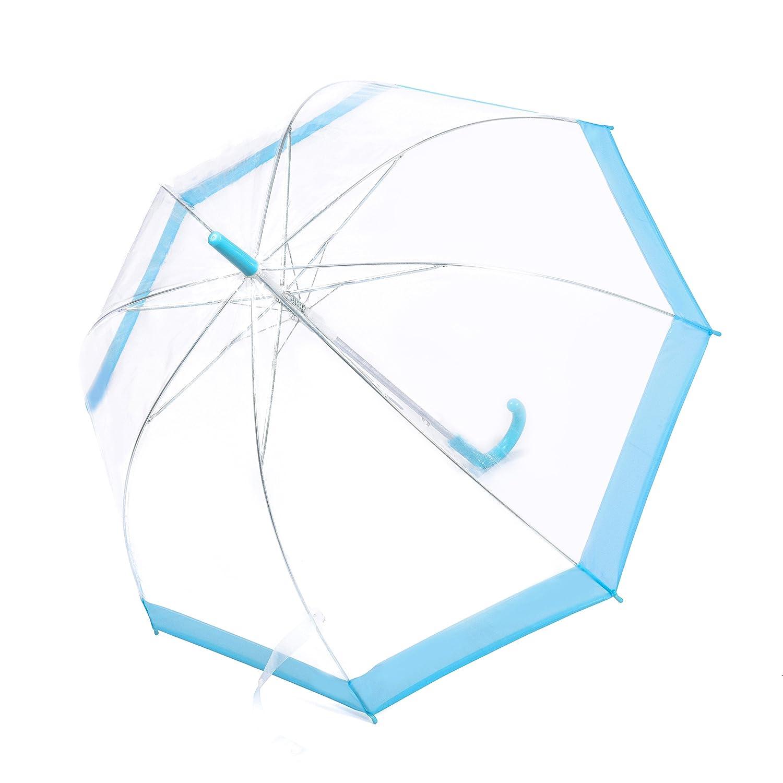 Rainbrace Transparent Bubble Regenschirm Automatisch Öffnen, Mode Dome Form mit Farbe Trim (Blau)
