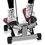 Fitness Exercise Elliptical Twister Stepper - Upgraded Quality Steel, Easy Under Desk Workout, Digital Display, Resistance Band - Elliptical Trainer Burns 15% More Calories Than a Exercise Bike SLXS6