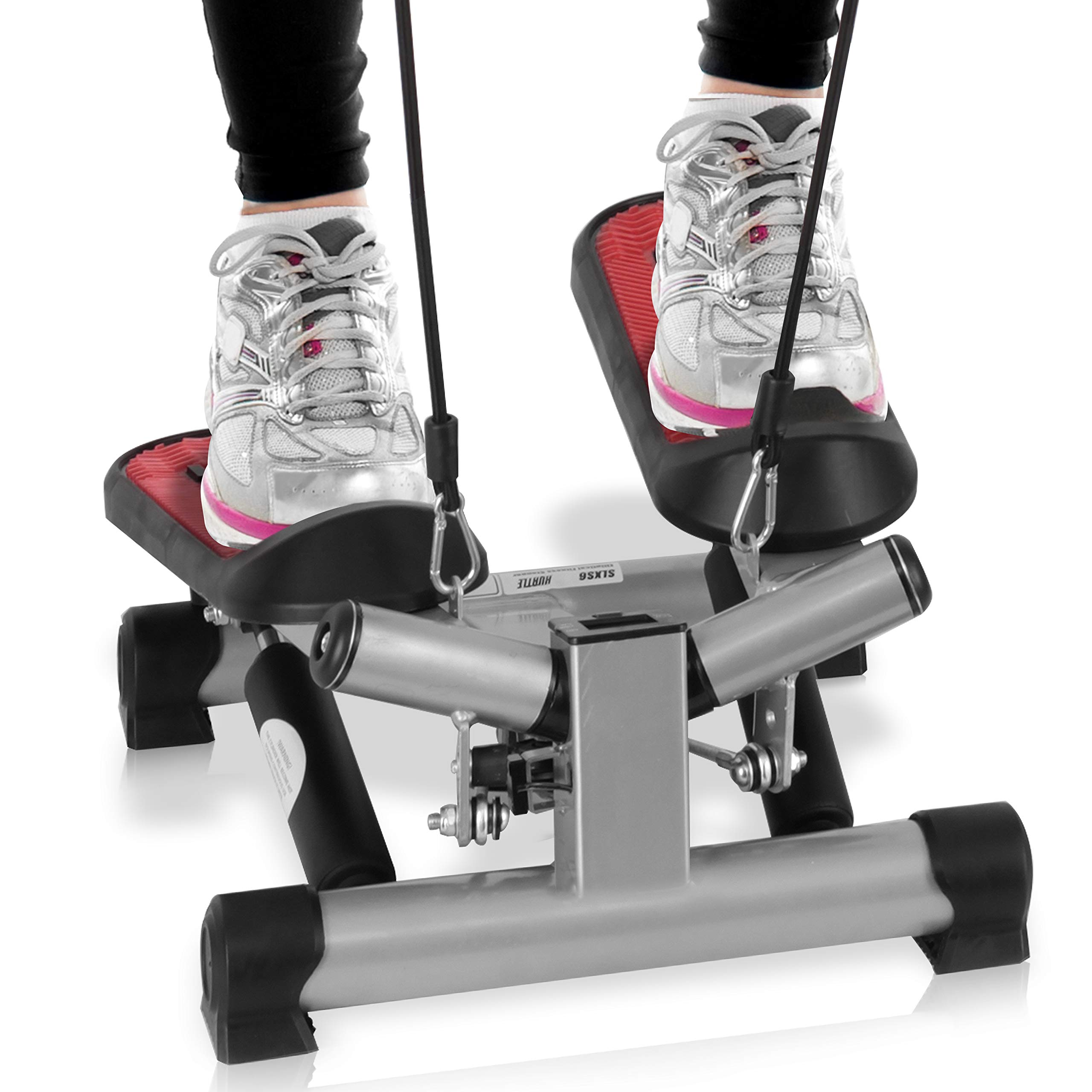 Fitness Exercise Elliptical Twister Stepper -Upgraded Quality Steel, Easy Under Desk Workout, Digital Display, Resistance Band Elliptical Trainer Burns 15% More Calories Than a Exercise Bike by SereneLife