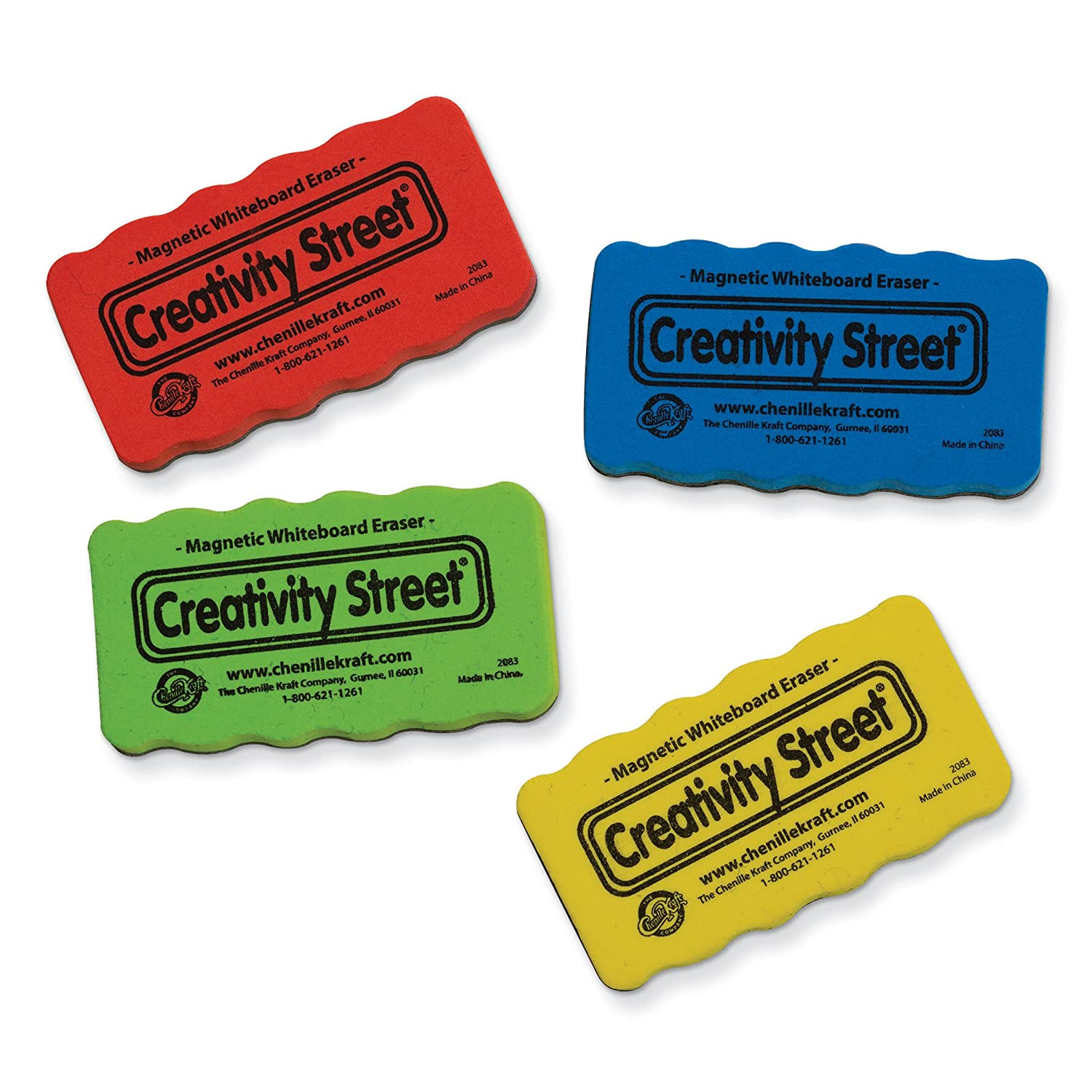 Creativity Street Magnetic Chalk and Whiteboard Erasers AC2083 Chenille Kraft Co 4-Pack