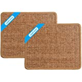LSAIFATER 2 PCS Cat Scratching Mat, Natural Sisal Mat, Protect Carpets and Sofas (11.8x14.9 inch, Brown)