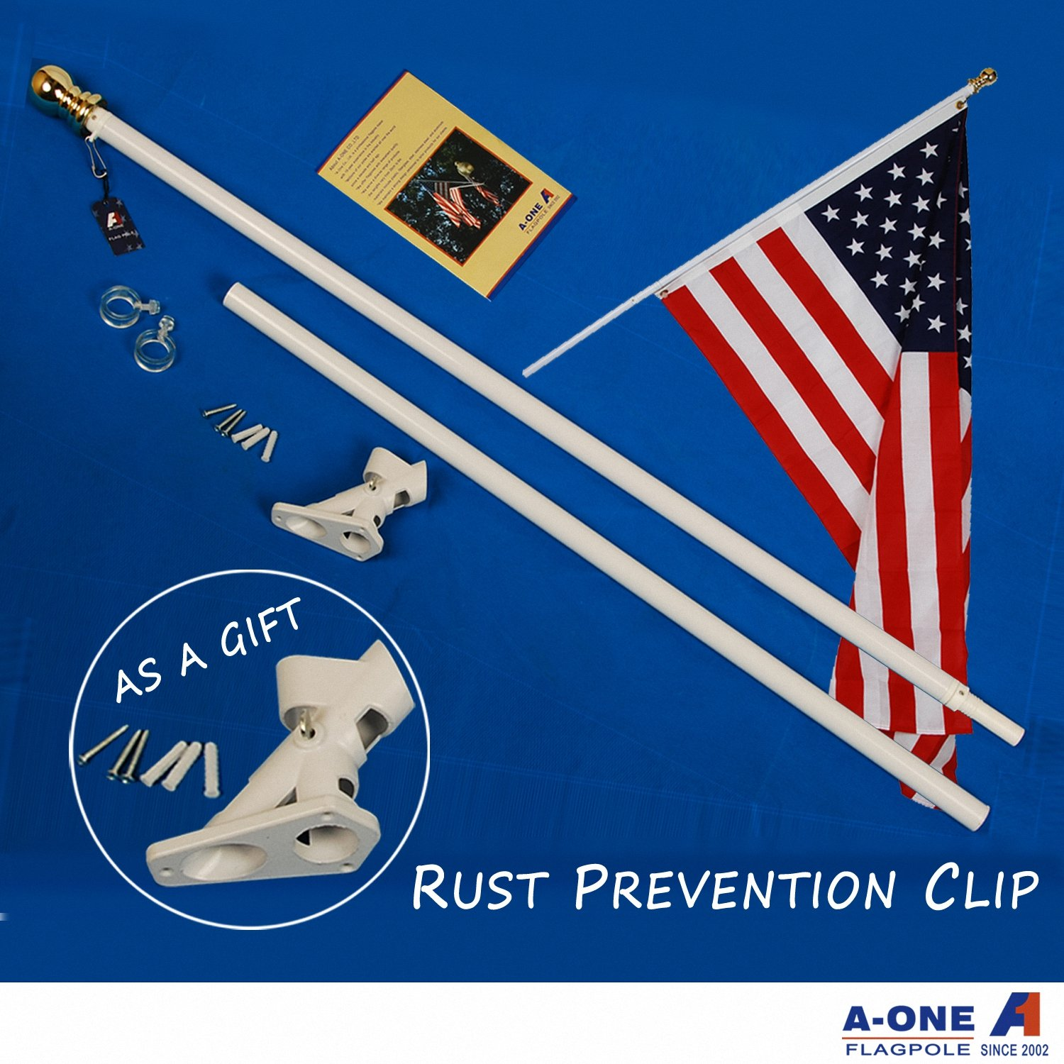 A-ONE 5Ft Tangle Free Spinning Flag pole, Deluxe Aluminum American US FlagPole Kit with Stainless Steel Rust Prevention Clip and Free Bracket for Outdoor Residential or Commercial Wall Mount, White
