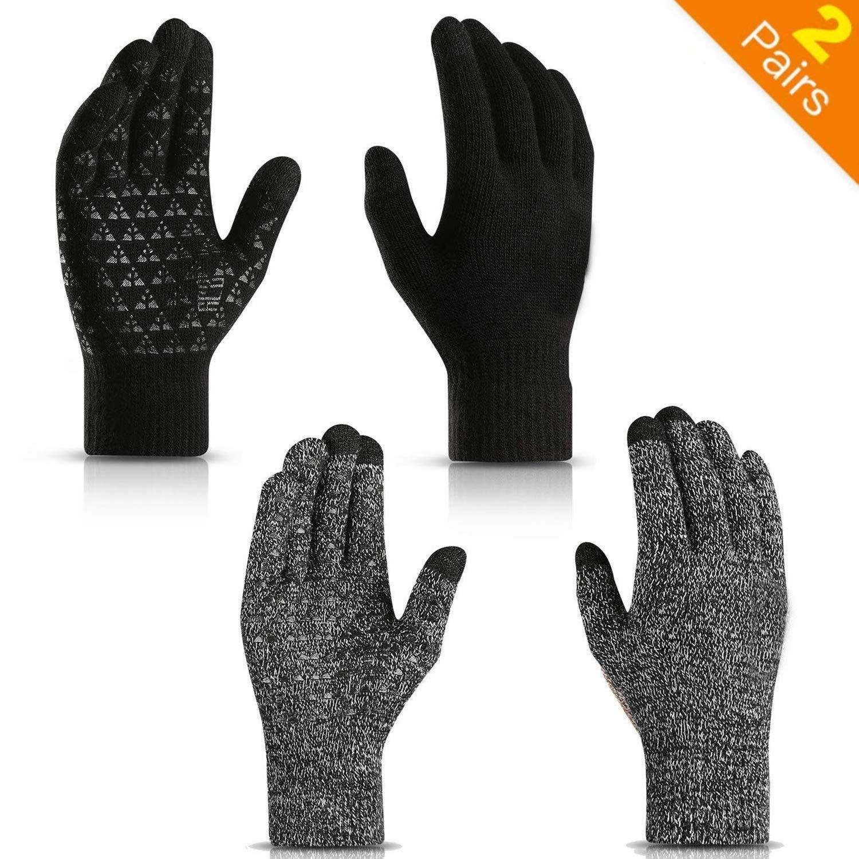 Fodera in lana morbida termica 2 paia caldi in gel di silicone antiscivolo con touch screen lavorato a maglia Polsino elastico Guanti invernali per uomo e donna Materiale elastico UNISEX