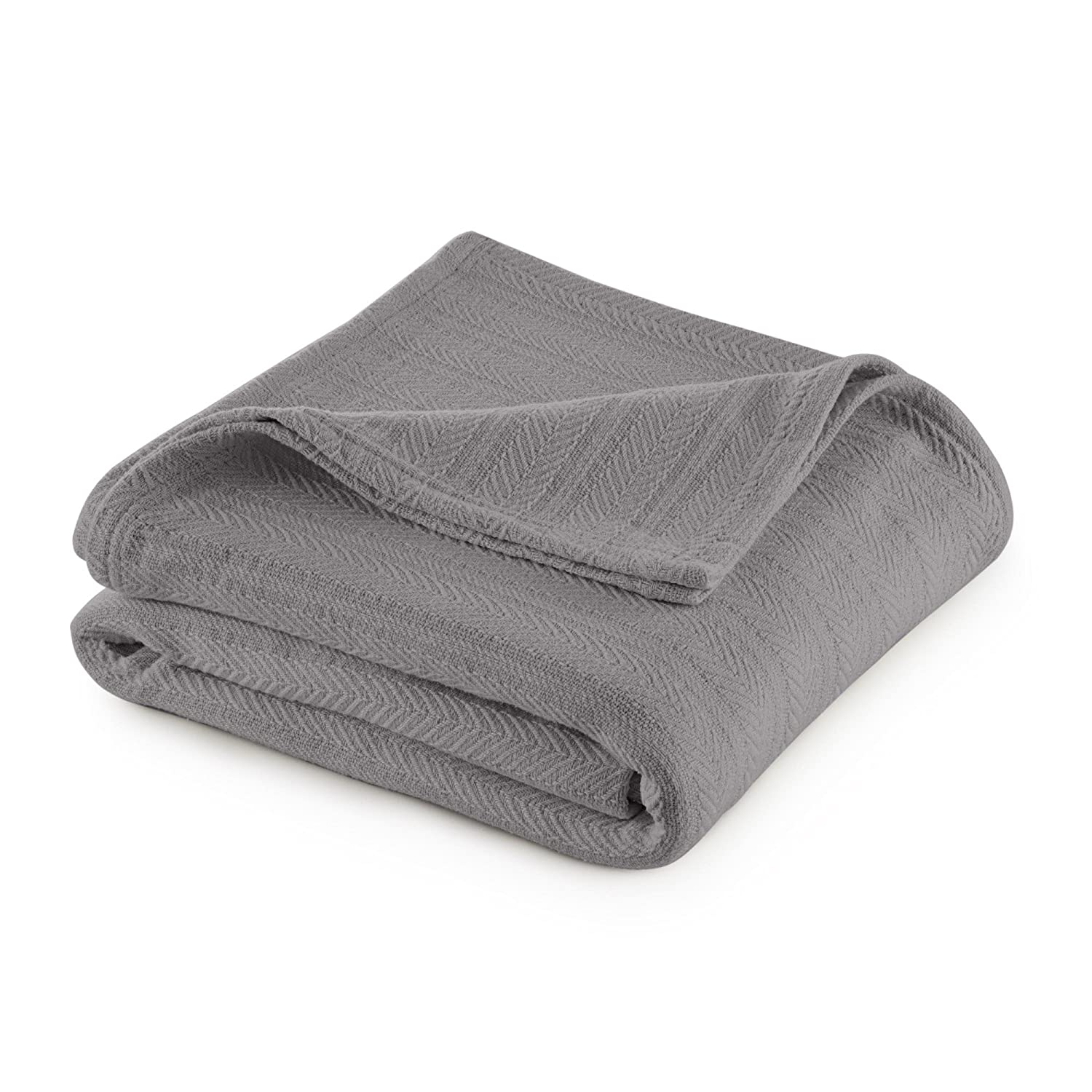 Vellux Cotton Woven Blanket King Gray WestPoint Home