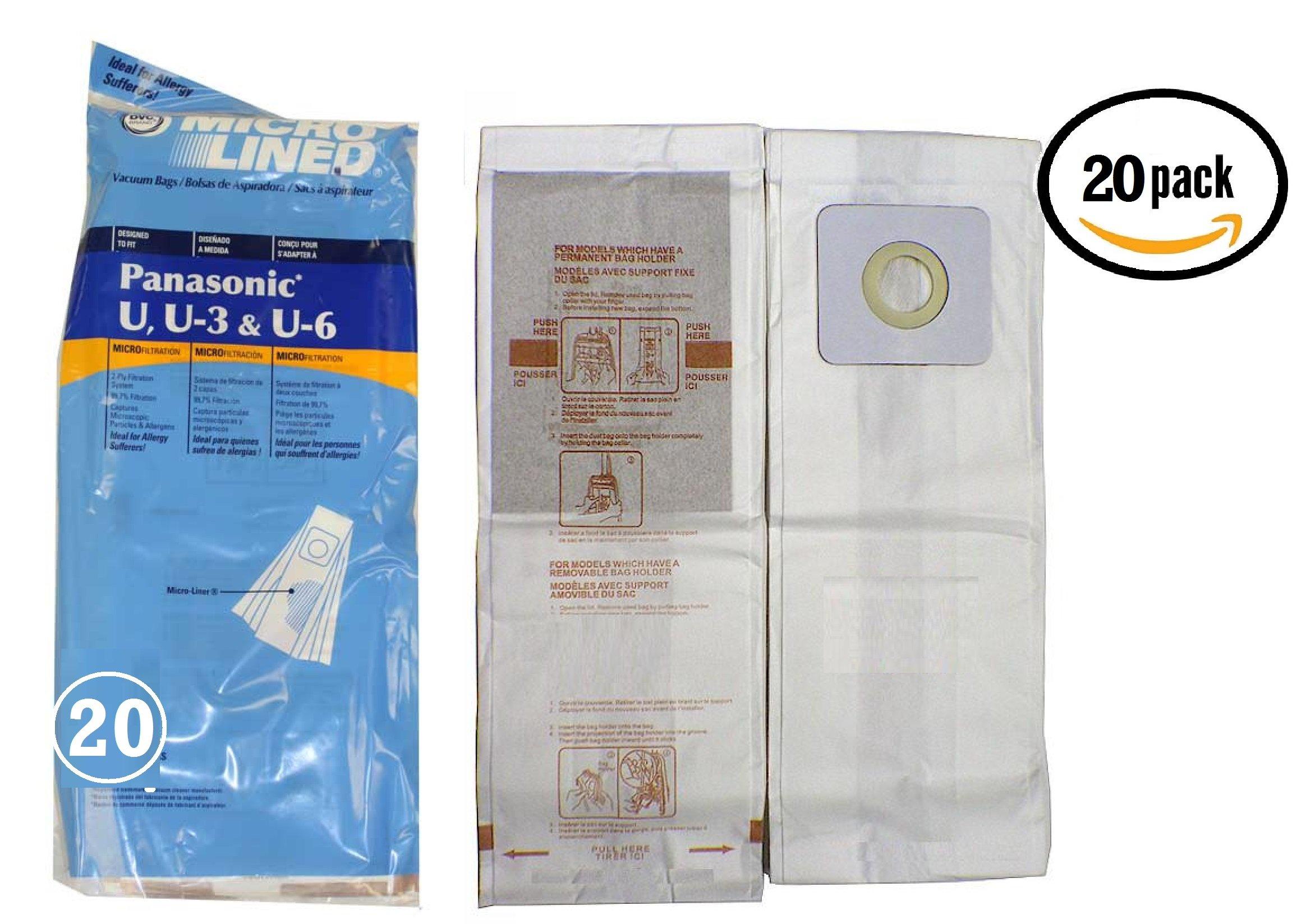 20 Panasonic Type U, U3, U6 DVC Micro-Lined Made Vacuum Bags, 20 Pack.