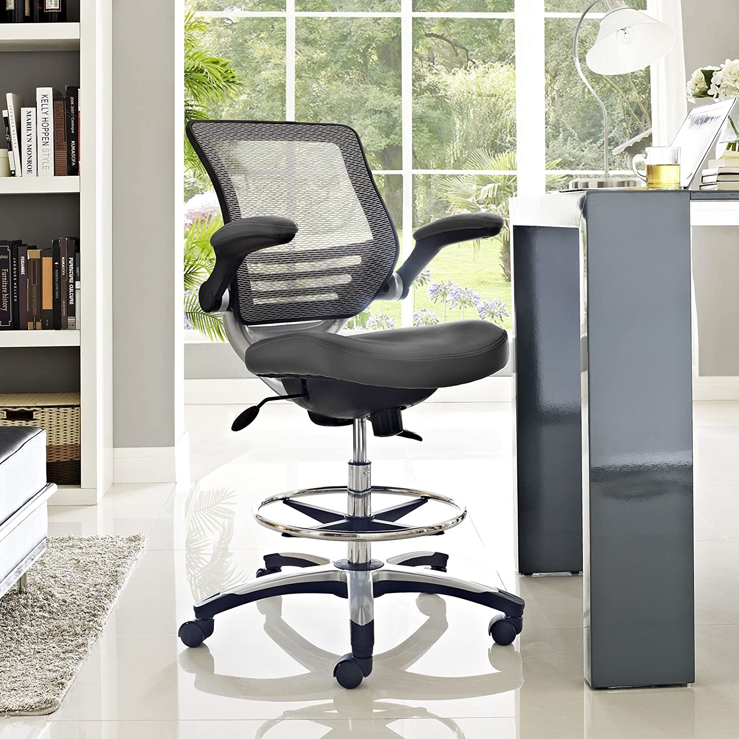 Modway Edge Drafting Chair In Gray – Reception Desk Chair – Tall Office Chair For Adjustable Standing Desks – Flip-Up Arm Drafting Table Chair
