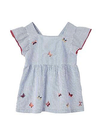 4466c995a684b Vertbaudet Blouse rayée Fille brodée Papillons Manches à Volants:  Amazon.fr: Vêtements et accessoires