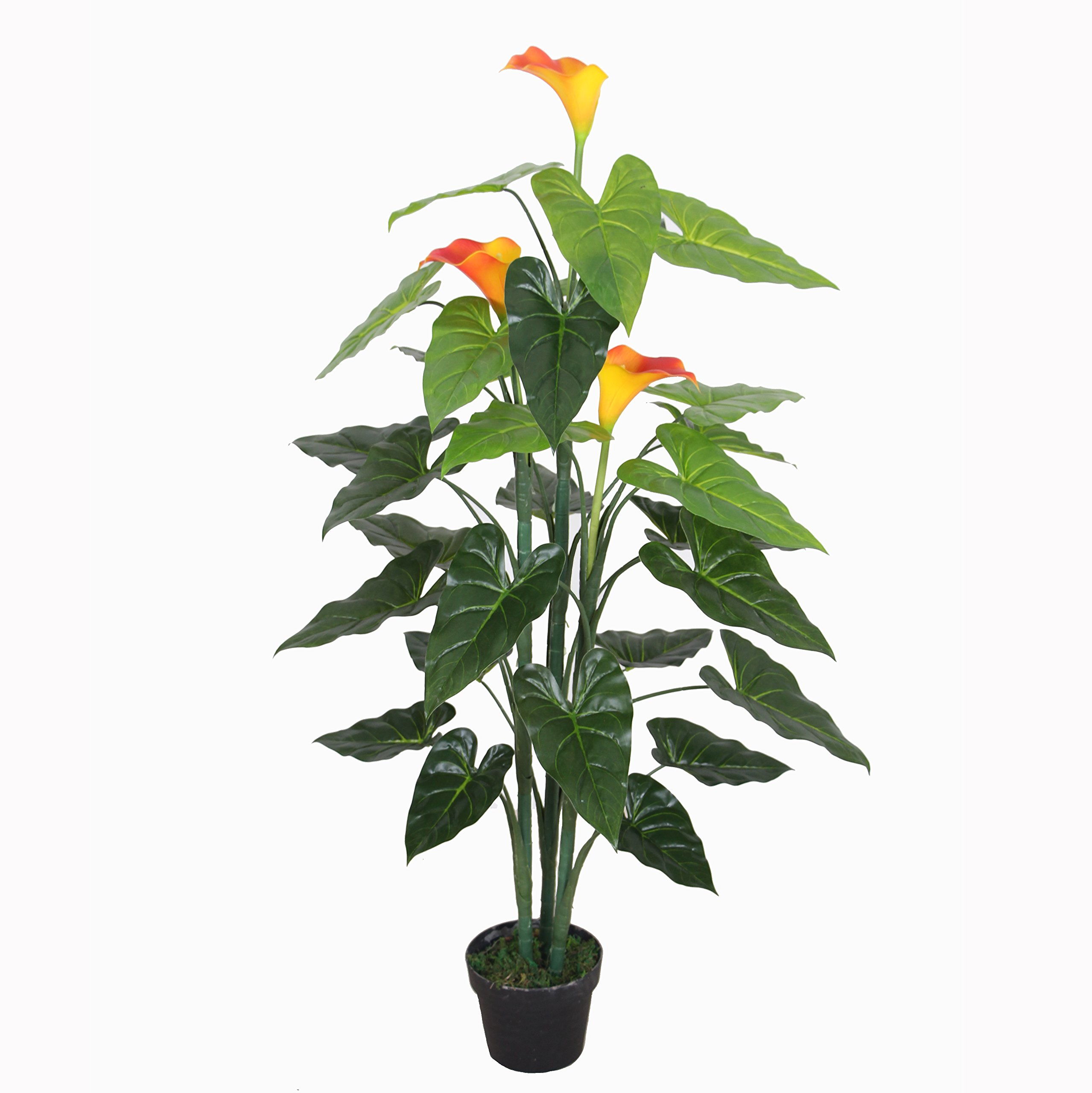 AMERIQUE 691322304060 Unique and Gorgeous Calla Lily Silk Flower Artificial Plant Tree Real Touch Technology, 4.2', Vivid Orange