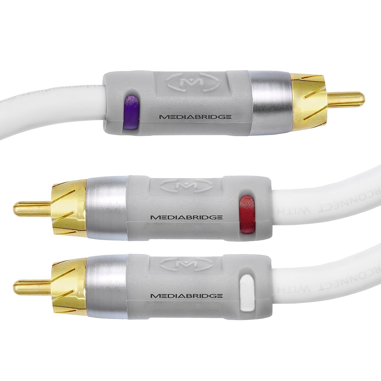 Mediabridge ULTRA Series RCA Y-Adapter - 1-male a 2-Male para audio digital o Subwoofer - doble blindado con RCA a RCA conectores dorados: Amazon.es: ...