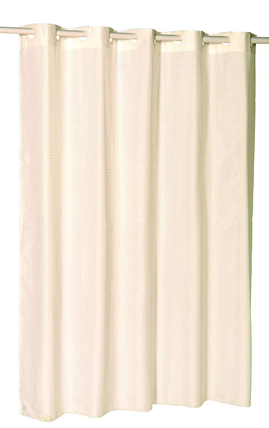 Carnation Home Fashions SCEZ-XL/CK/08 Ez On 180cm x 210cm Fabric Shower Curtain Cheques - Ivory