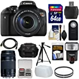 Canon EOS Rebel T6i Wi-Fi Digital SLR Camera & EF-S 18-135mm IS STM & 75-300mm III Lens with 64GB Card + Case + Filters + Tripod + Flash + Kit