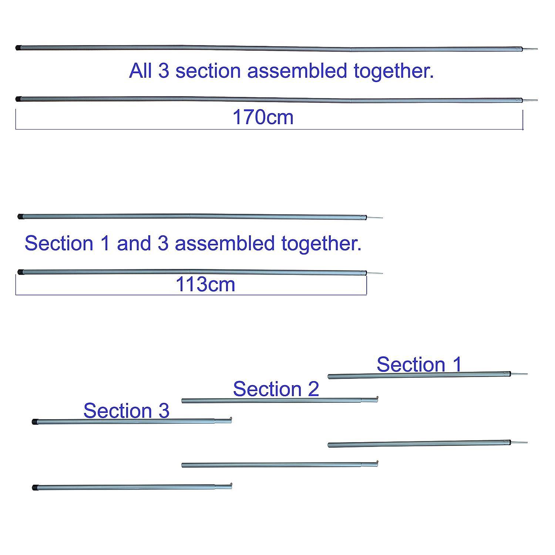 Tarp Zeltstangen Falten 3 Sektion Einstellbare Dual Size Stahlzelt Zubeh/ör f/ür Headroom Baldachin Veranda Markise Sun Sails