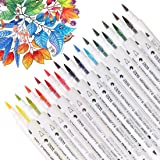 Dual Tip Watercolor Brush Markers, Calligraphy Pens for Adults&Kids Coloring Book, Drawing, Design, Bullet Journal - 14 Piece & 28 Colors by Dainayw
