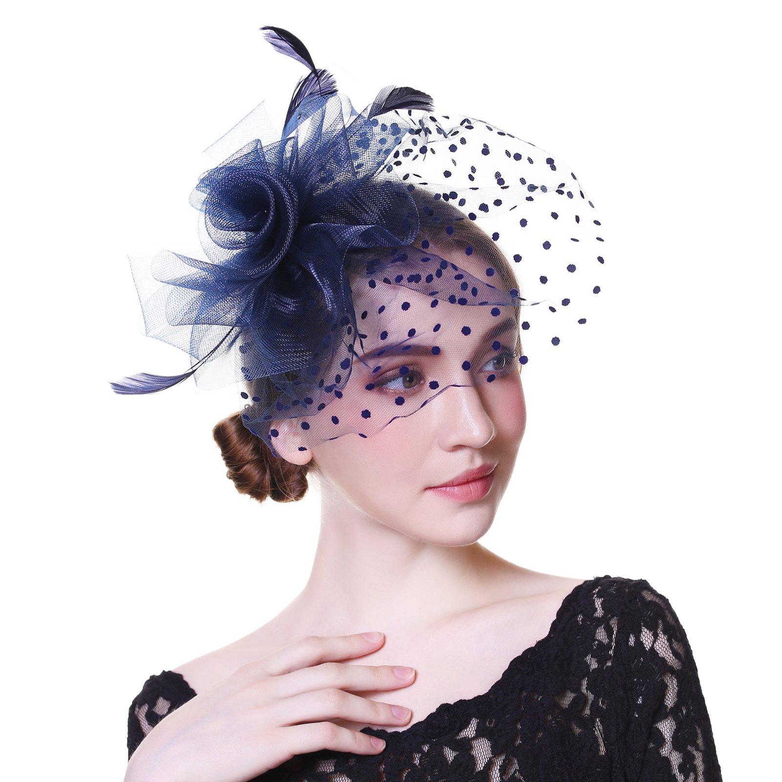 Fascinator Hat Mesh Flower Headwear – AWAYTR Tea Party Hats for Woman Mesh Derby Church Cap