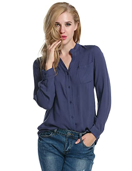 1ffec5c178 Meaneor Women Rayon Long Sleeve V Neck Button Down Casual Tees T ...