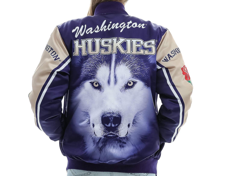 5602fe9a6 Twin Vision Activewear Washington Huskies Satin Bomber Jacket (Rose)