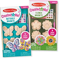Melissa & Doug Created by Me! Paint & Decorate Your Own Wooden Magnets Craft Kit 2 Pack - Butterflies, Flowers (4 Each Set), Multicolor