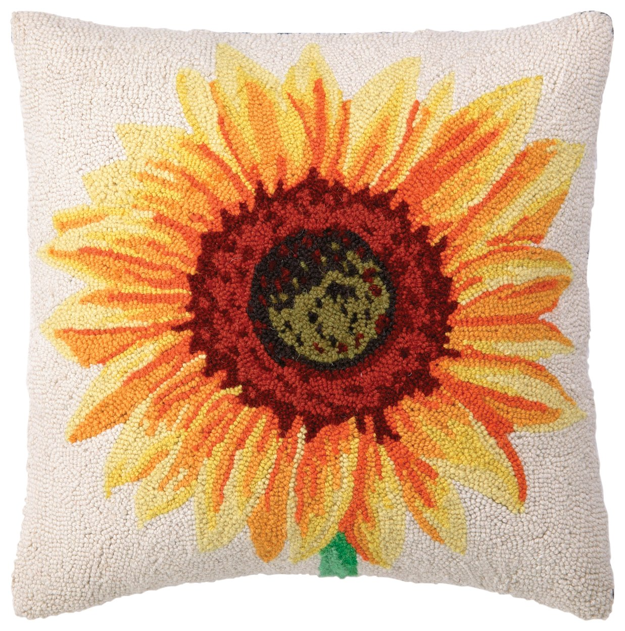 Peking Handicraft Hook Pillow Yellow Sunflower 18-by-18-Inch