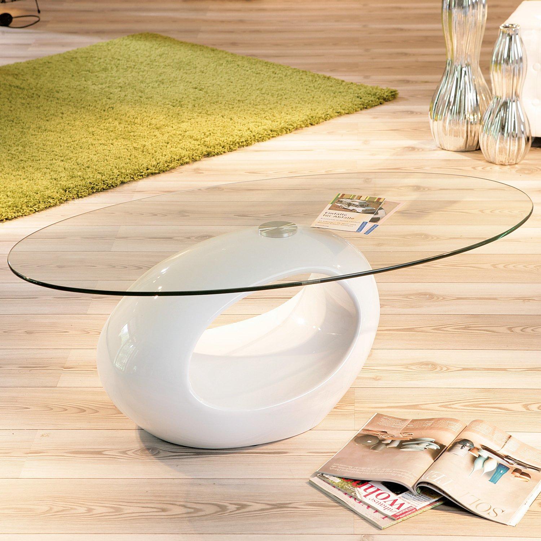 Links 50100120 Couchtisch Weiss Hochglanz Glastisch Wohnzimmertisch Wohnzimmer Tisch Modern NEU Amazonde Kche Haushalt