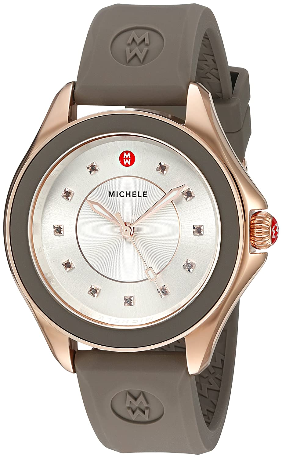MICHELE Women s Cape Quartz Stainless Steel and Silicone Dress Watch, Color Brown Model MWW27A000014