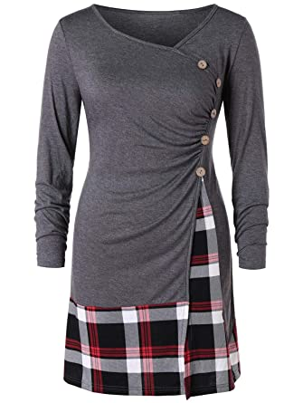 Rosegal T-Shirt Femme Manche Longue Tops Pullover Mode Chemise Chic Automne  Printemps (L 8a0719e94f6