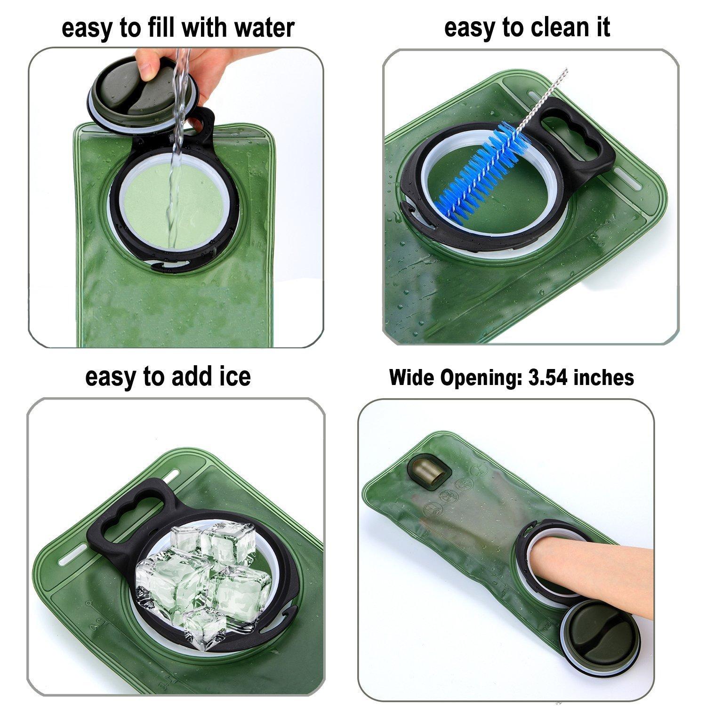 Hydration Bladder 2 Liter,Leakproof Water Reservoir,FOISON Water Bladder with Wide Opening for Biking Hiking Camping