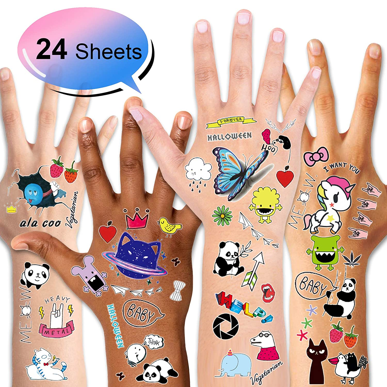 24 Hojas Flor Mariposa Fruto Dibujos Animales Tatuajes Infantiles Tatoos Falso Pegatinas para pi/ñata Ni/ños Infantiles Fiesta de Cumplea/ños Regalo Konsait Tatuajes Temporales para Ni/ños Ni/ñas