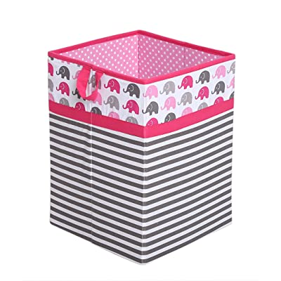 Bacati Collapsible Storage Hamper, Elephants, Pink/Grey, One Size : Baby