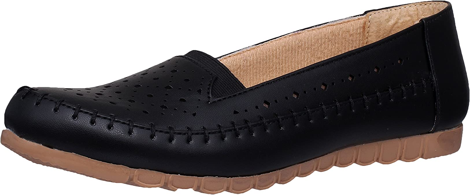 1 WALK Women's Faux Leather Loafers Women's Ballet Flats at amazon