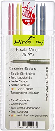2 x Yellow Pica 4020 DRY Refills For Ink Markers 2 x Red 4 x Black 4020REFILLS