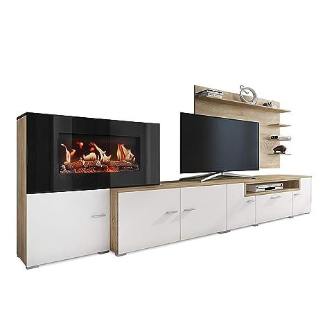 SelectionHome - Mueble salón Comedor con Chimenea eléctrica, Medidas: 290 x 170 x 45 cm de Fondo (Blanco Mate - Roble Claro Cepillado)