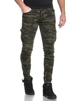 c2afaf9d15d4 BLZ jeans - Jean camouflage slim avec poches cargo zip chevilles - couleur   Vert -