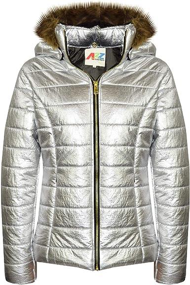 Kids Girls Jackets Puffer Hooded Detachable Faux Fur Wet Look Padded Long Coats