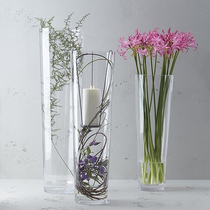 Design-Vase aus Glas Dekoobjekt Deko Bodenvase mundgeblasen durchgefärbt H 44 cm
