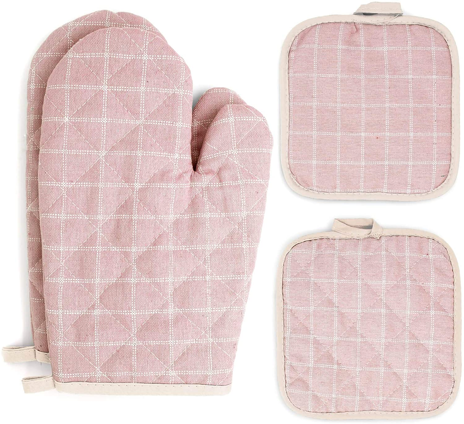 Pretty Jolly Oven Mitts and Pot Holders Sets 4 pcs, Pink Oven Mitt Set with Potholders for Kitchen Heat Resistant, Hot Pads and Oven Mitts Sets Kitchen Mittens Home Cooking Baking Mitts for Woman