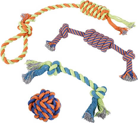 Yangbaga Dog Rope Toys,10 Pcs Dog Chew Toys Cotton Durable Non-toxic Material Vibrant Colors Attractive Design for Small to Medium Puppy