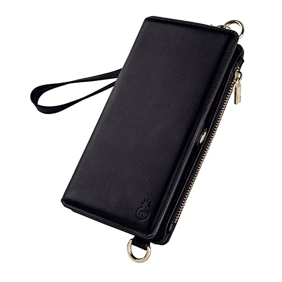 lowest price b7cbc 3b1ab Leather Wallet Phone Case Cover for iPhone 7/8,Zipper Phone Case Cellphone  Carrying Bag for Women,Detachable Slim Phone Case Adjustable Shoulder Strap  ...