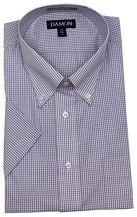 "812df0759 Ultra Poplin Button Down Collar Short Sleeve Mini Check Dress Shirt (Lt  Purple, 17"""