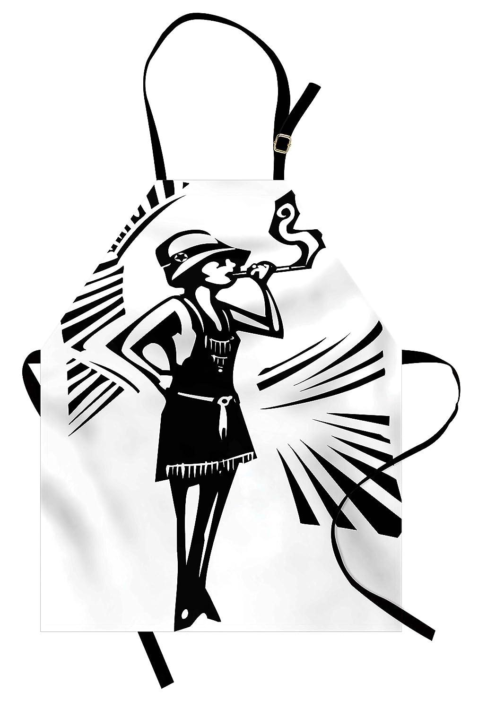 スケッチエプロンby lunarable、モノクロ風フラッパーガールの喫煙ヴィンテージドレススケッチスタイル女性図、ユニセックスキッチン調節可能なネックよだれかけエプロンfor Cooking Bakingガーデニング、ブラックとホワイト   B07B8P62FQ