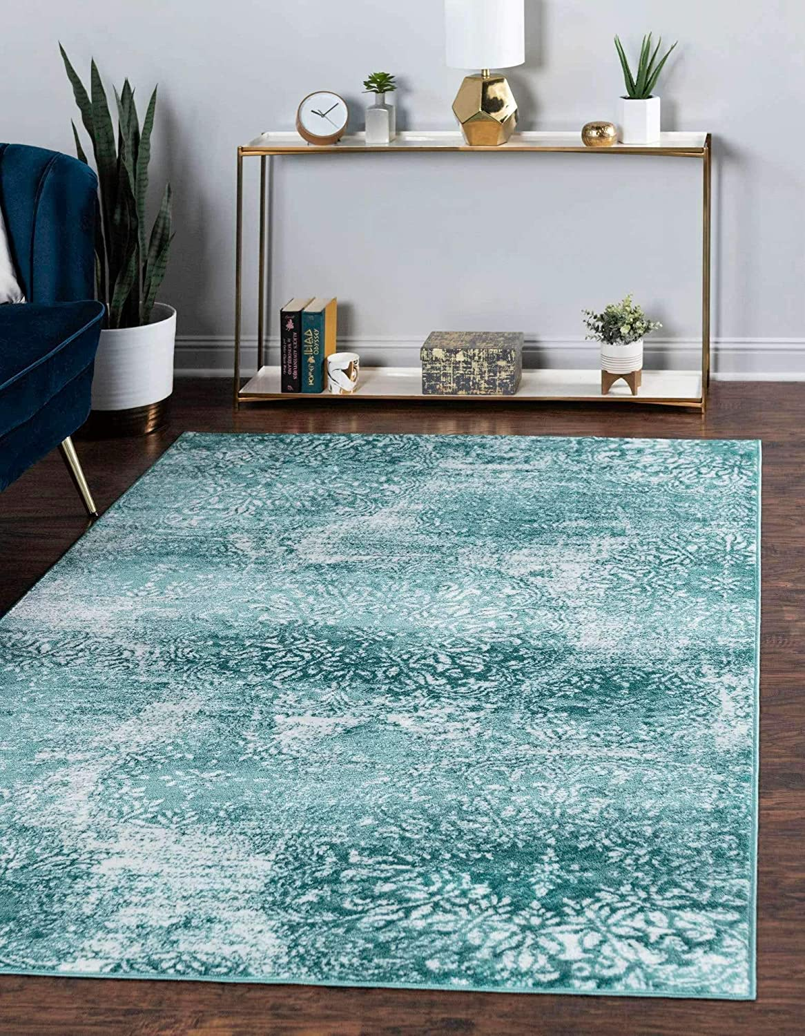 Unique Loom Sofia Traditional Area Rug, 4' 0 x 6' 0, Turquoise