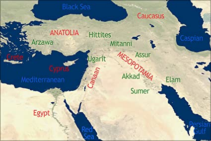 24''x36'' Poster - Bible Map Of Ancient Middle East In Antiquity